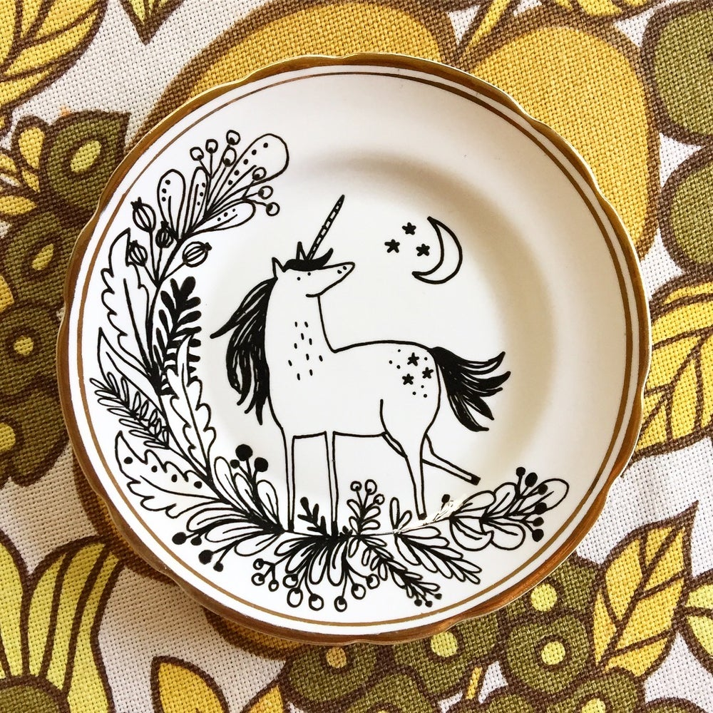 Image of Unicorn With Floral Wreath, Moon and Stars - Gold and White Vintage Plate