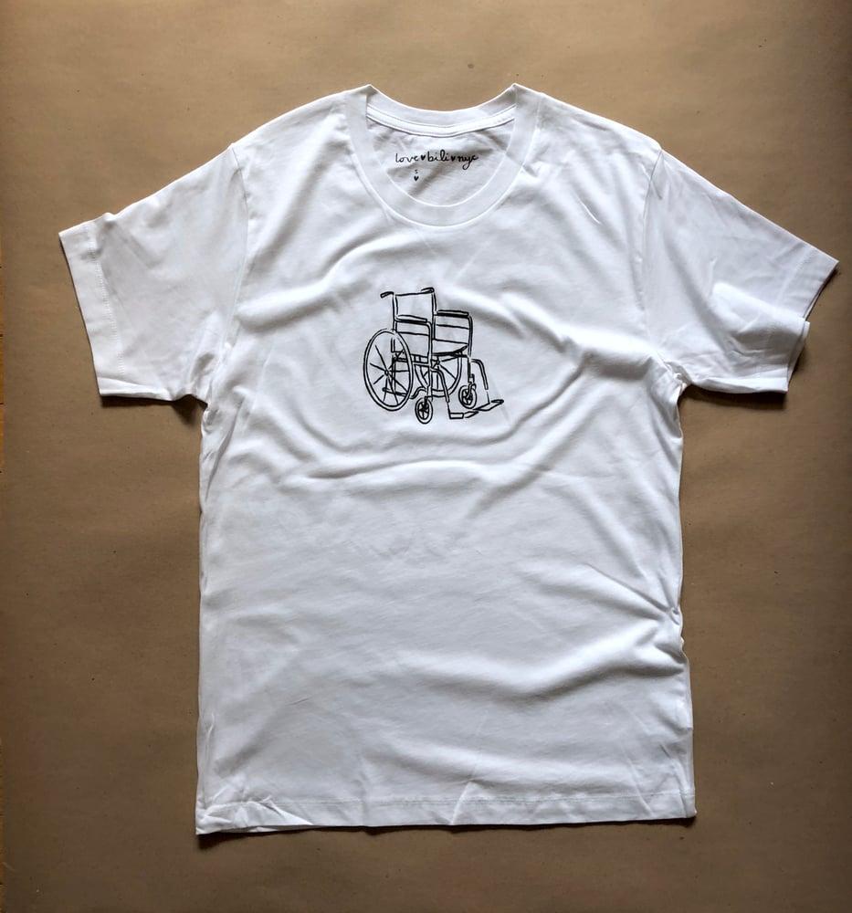 Image of wheelchair shirt (white)