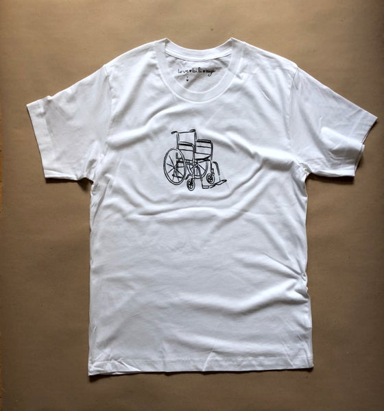 Image of wheelchair shirt (white)