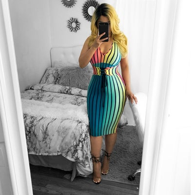 Image of Multi strip dress
