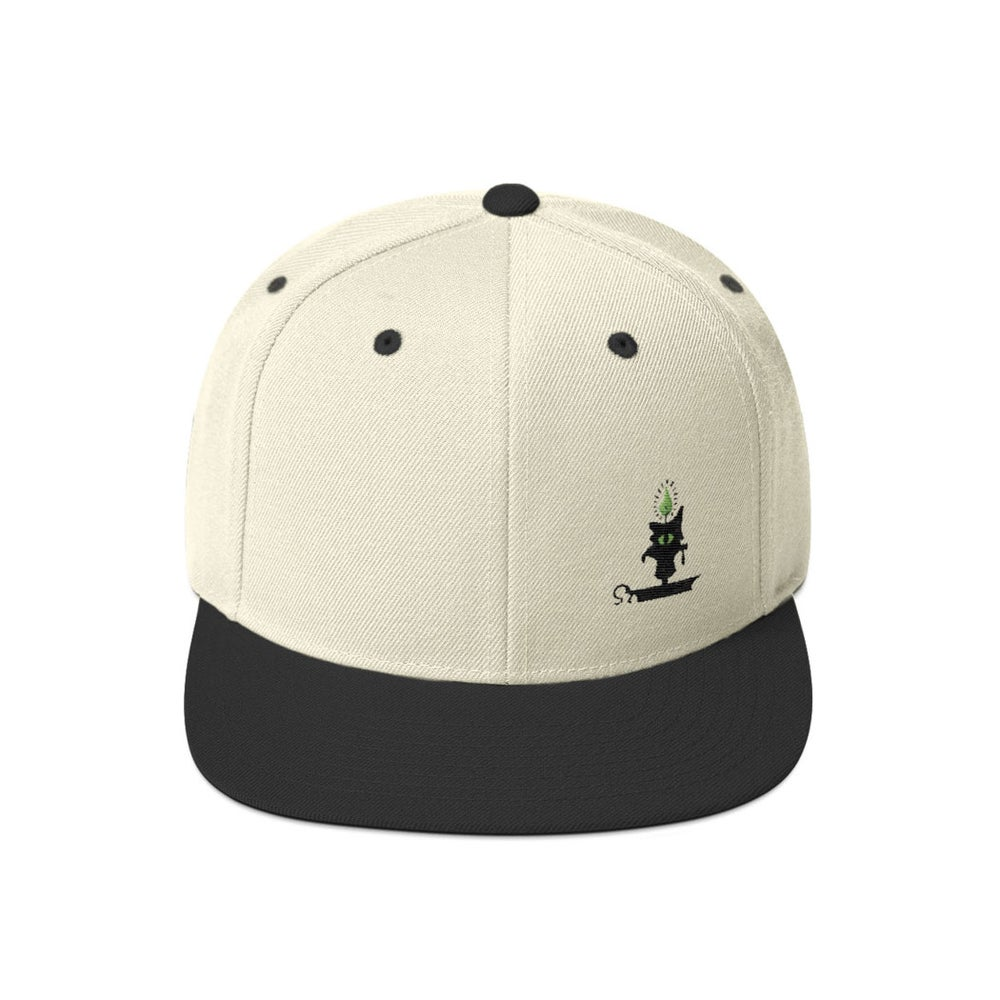 Image of Burning Eye Embroidered Cream and Black Snapback Hat