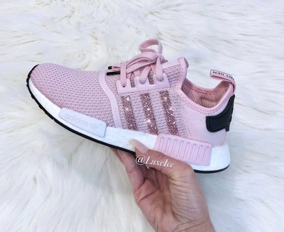 Image of Adidas NMD R1 Clear Pink/White/ Core Black customized with SWAROVSKI® Xirius Rose-Cut Crystals.