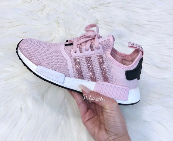huge selection of 7ccc4 bcae2 Adidas NMD R1 Clear Pink/White/ Core Black customized with SWAROVSKI®  Xirius Rose-Cut Crystals.