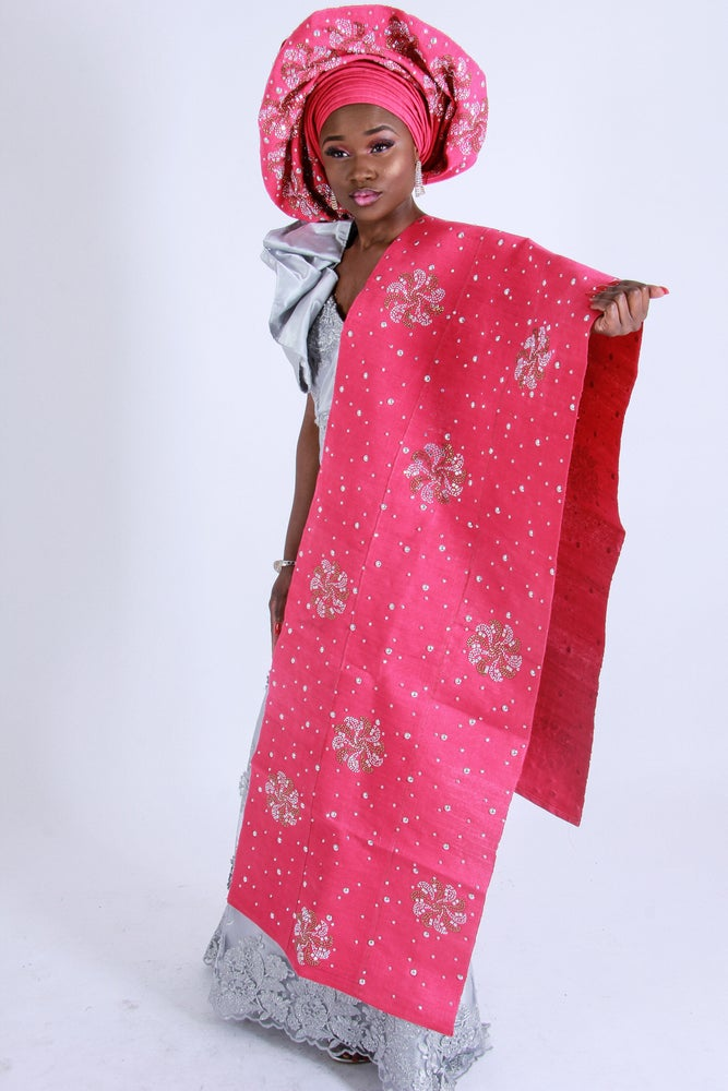 Image of Elite Aso Oke, Gele and Ipele Embroidered set