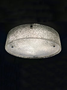 Image of Large Mid-Century Flush Mount in Textured Glass by Kaiser Leuchten