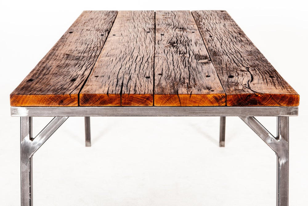 Image of old oak dining table