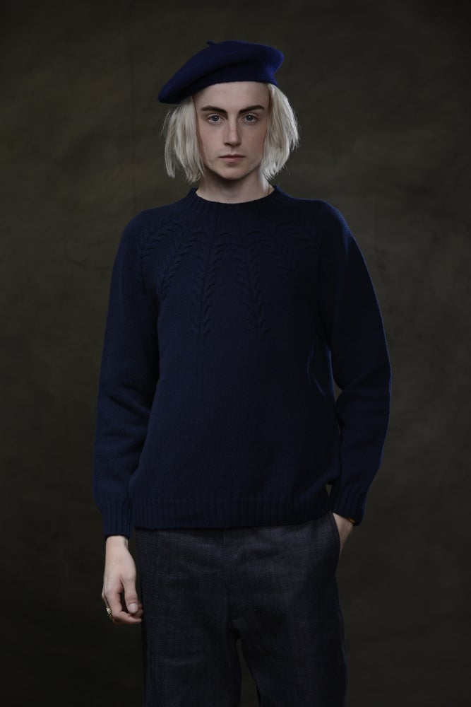 Image of BRANCUSI CREW NECK SWEATER - NAVY £165.00