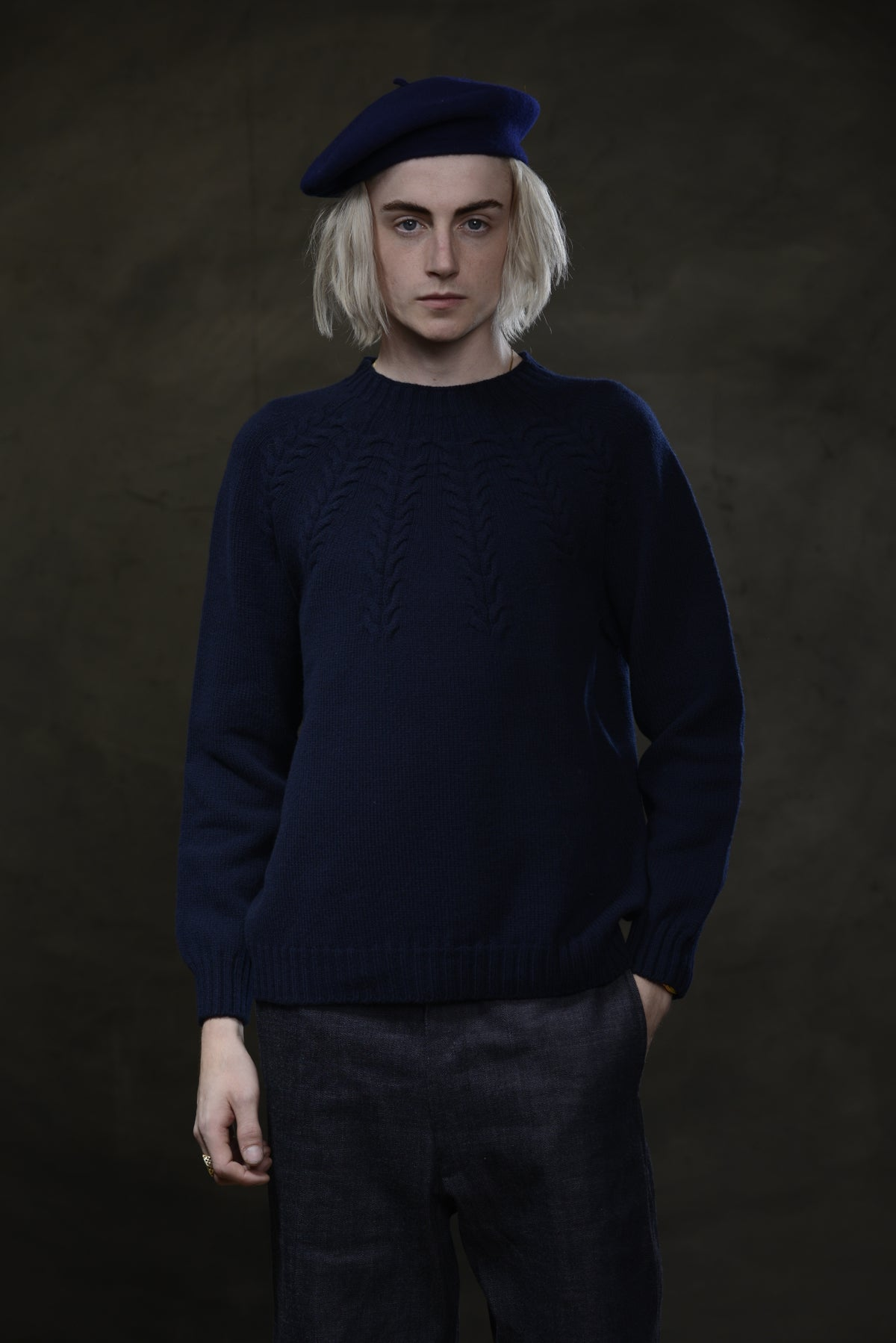 Image of BRANCUSI CREW NECK SWEATER - NAVY £165.00