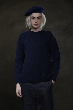 Image of BRANCUSI CREW NECK SWEATER - NAVY