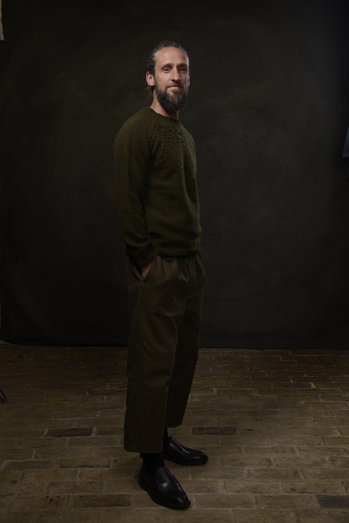 Image of BRANCUSI CREW NECK SWEATER - MILLITARY £165.00
