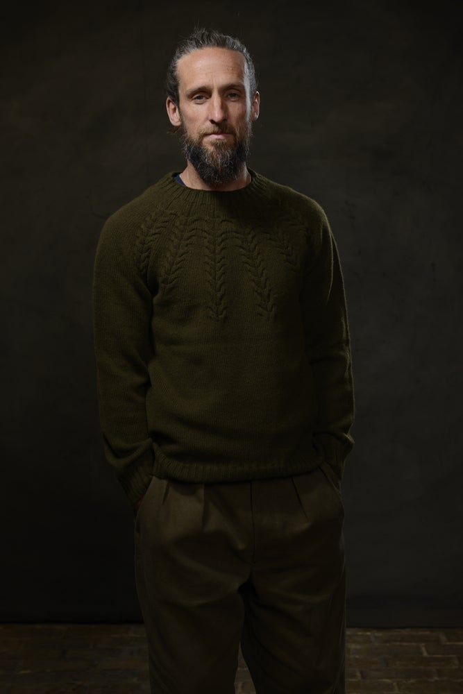 Image of BRANCUSI CREW NECK SWEATER - MILLITARY £165.00