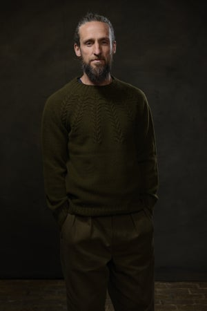Image of BRANCUSI CREW NECK SWEATER - MILLITARY