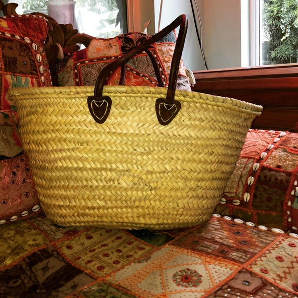 Image of French market bag natural straw .