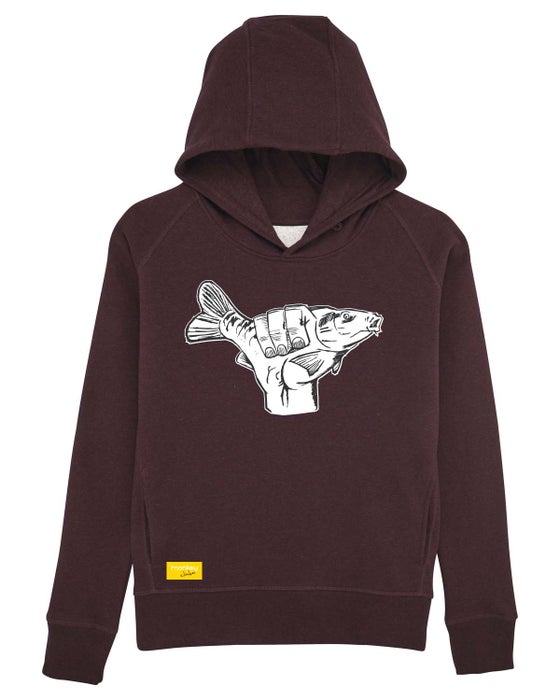 Image of Monkey Climber Carp Shaka hoodie I Burgundy - Heather Pink