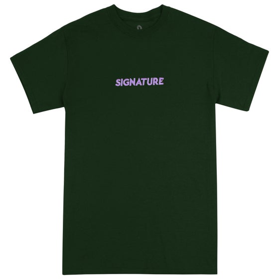 Image of Classic Logo Embroidered T Shirt - Forest Green / Lilac