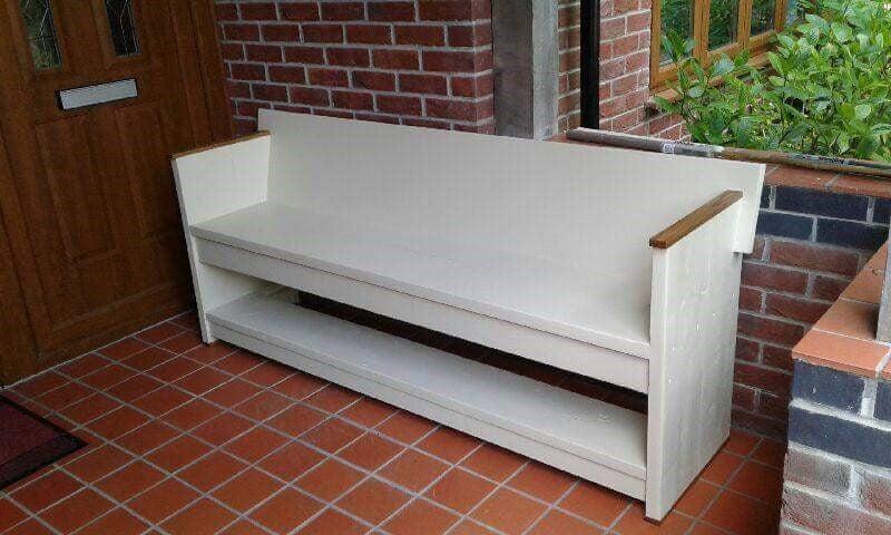 Super Reclaimed Scaffold Board Garden Bench Country Cream Finish Short Links Chair Design For Home Short Linksinfo
