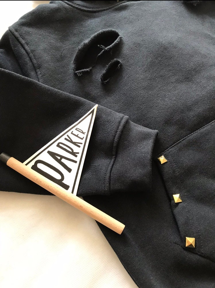 Image of Gold Studded Distressed Hoodie