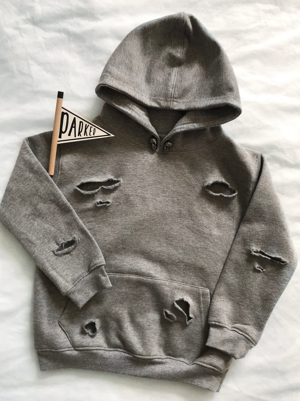 Image of Grey Skull Distressed Hoodie