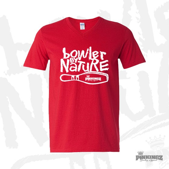 Image of Pinkingz Bowling - Bowler By Nature - Red with White V-Neck