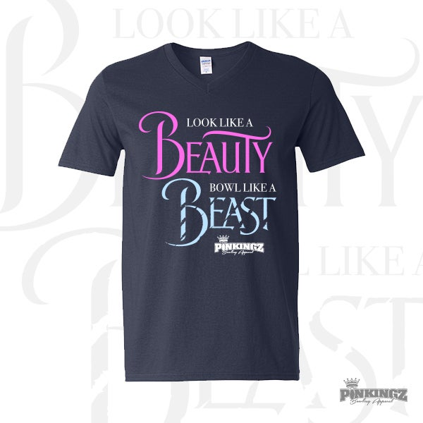 Image of Pinkingz Bowling T-Shirt - Look Like a Beauty Bowl Like a Beast! - Navy Blue Ladies V- Neck