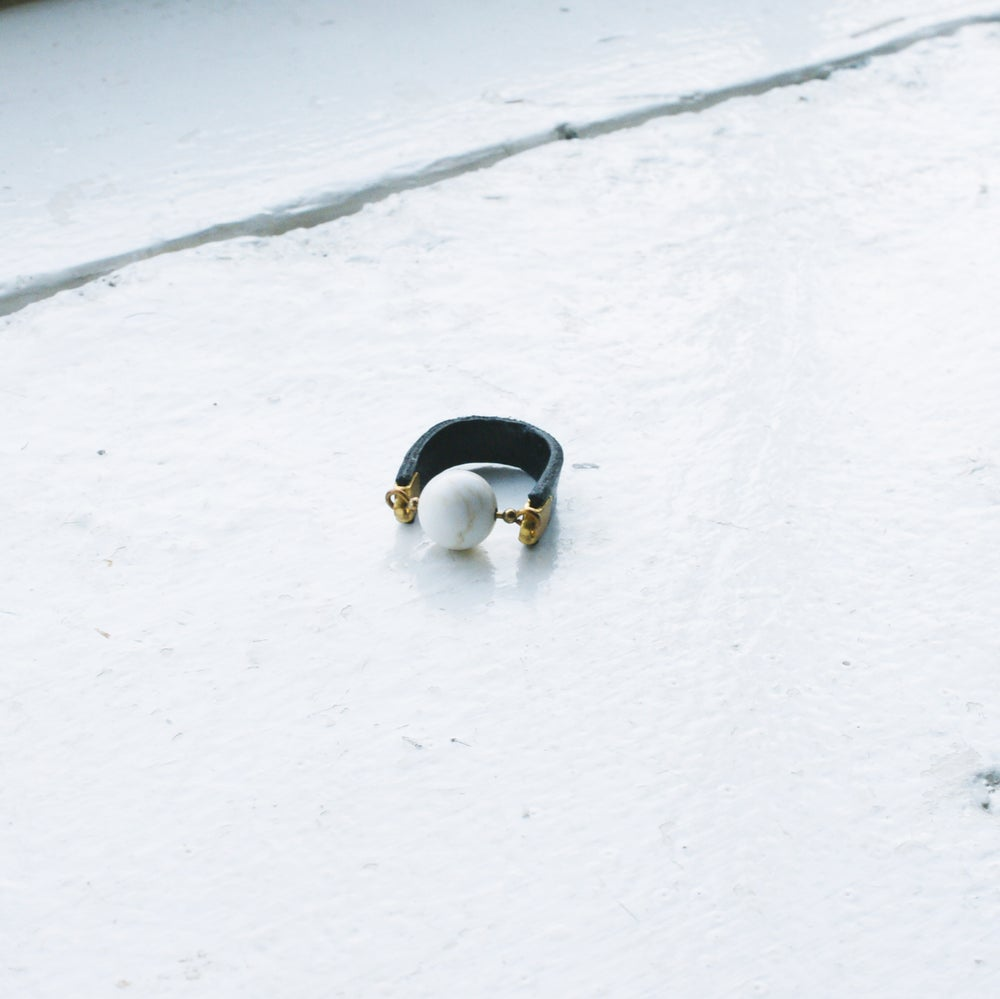 Image of Dot Ring - Magnesite and black