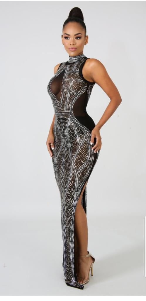 Image of Curvy rhinestoned dress