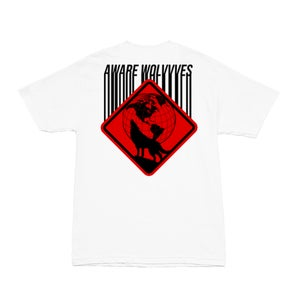 Image of SOLD OUT | AWAREWOLVVVES ULTRA RED BARCODE WHITE TEE | EXCLUSIVE AWARE RELEASE