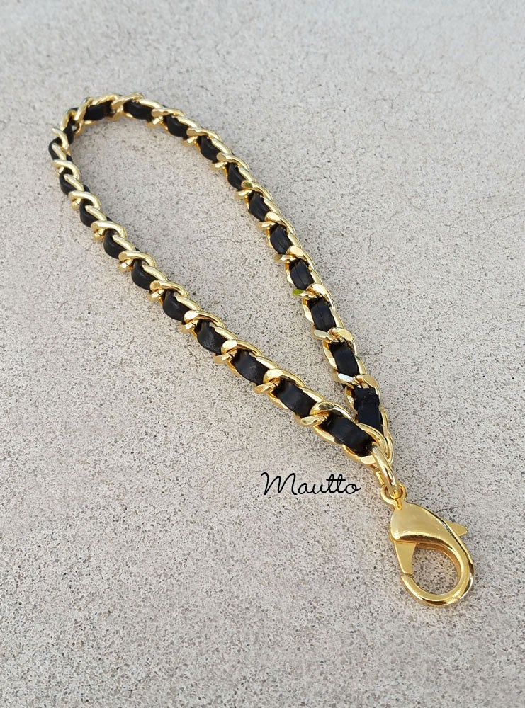 Image of Chain + Black Leather Weave Wrist/Accessory Strap - Gold or Nickel - Mini Lobster Claw Clasp