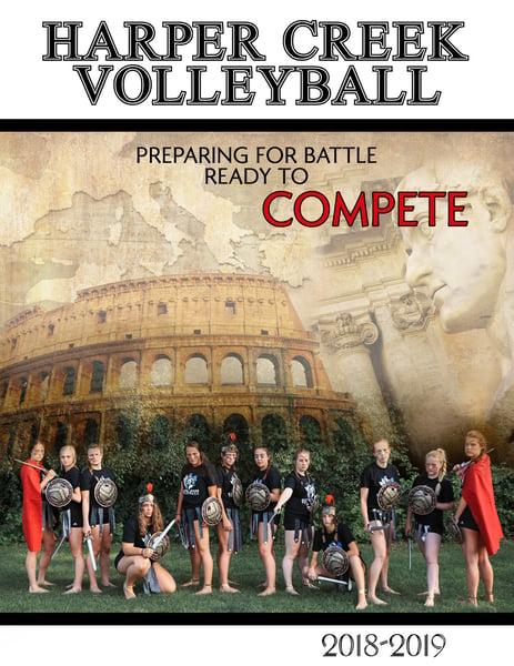 Image of HCVB Gladiator themed program, postcard & posters