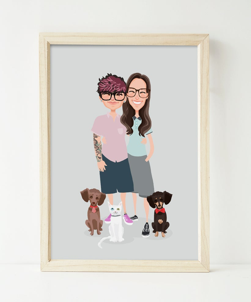 Image of Couple, two dogs and a cat custom portrait