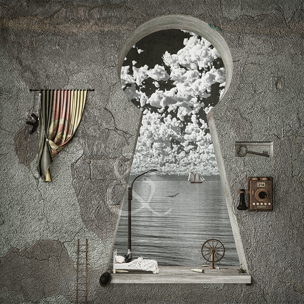 Image of life on a keyhole (framed)