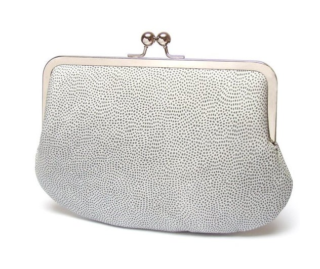 Image of White leather clutch bag, patterned purse, silk-lined, handbag with chain