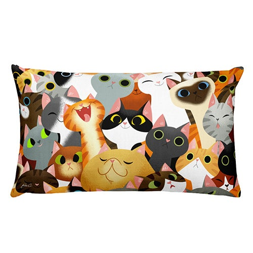 Image of Cat Crowd Rectangle Pillow