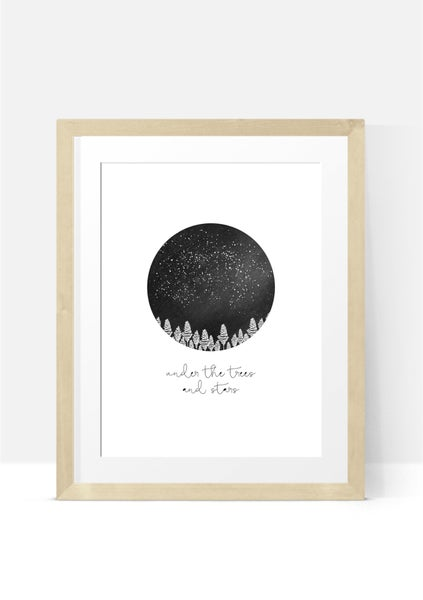 Image of Under the Trees and Stars A4 Print