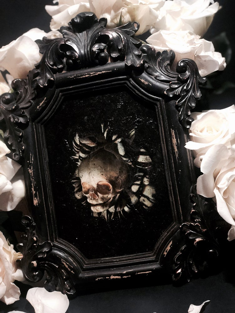 Image of 'FOETAL SKULL OF NASCENCY' [ UNIQUE PRINT - { 1/1 } ] HAND EMBELLISHED MUSEUM ARCHIVAL PRINT W/ MIXE