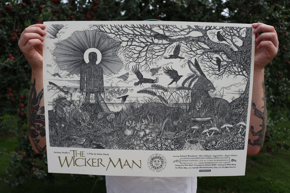 Image of The Wicker Man official poster. Artist proof copies  (variant) signed by Britt Ekland