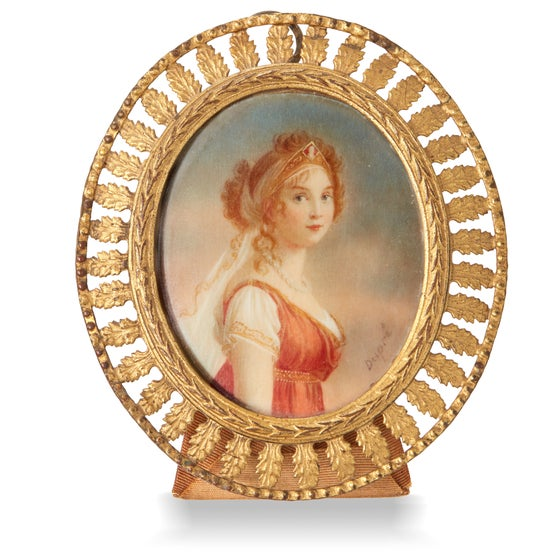 Image of Antique Miniature Portrait of Woman.  Signed Dupre
