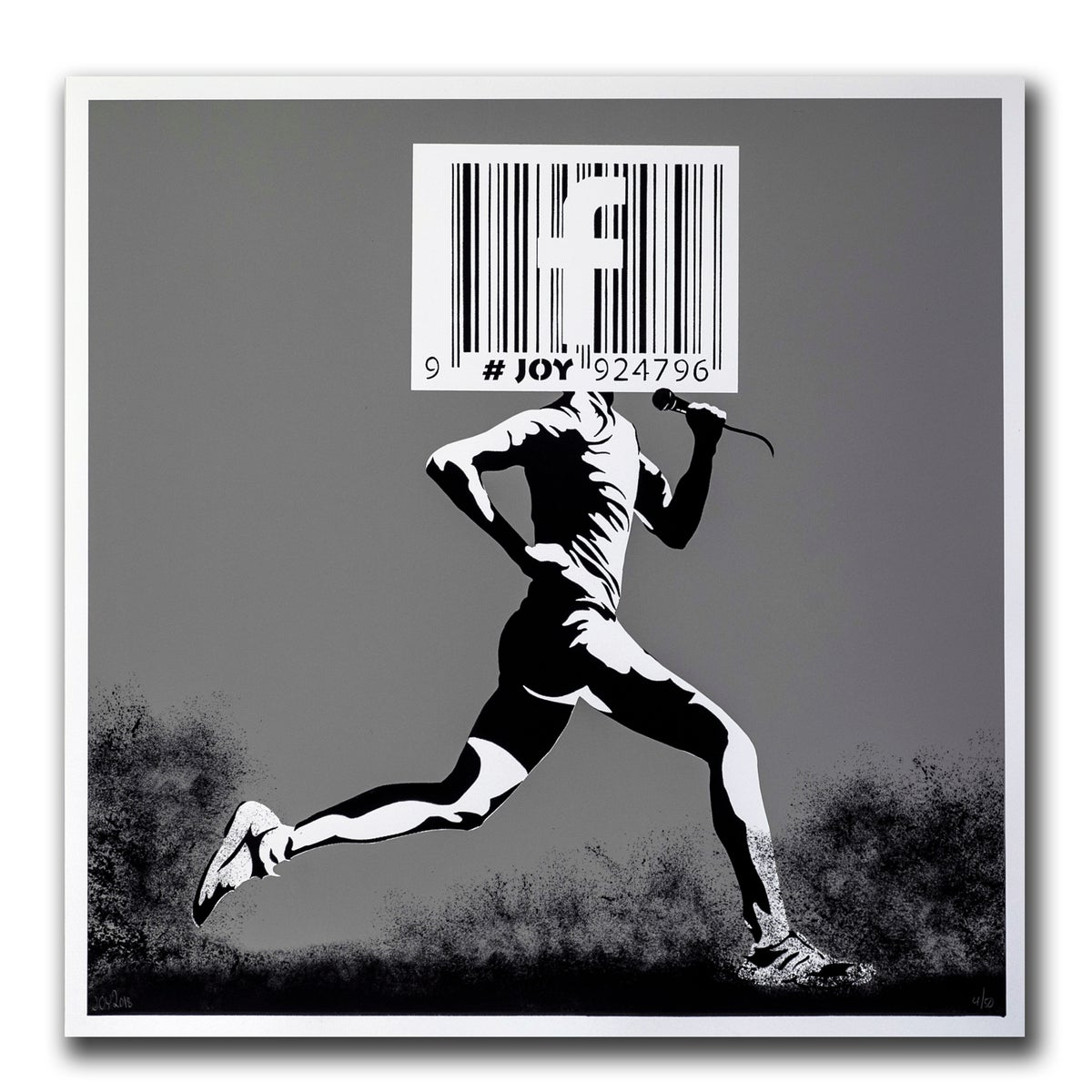Image of JOY - Barcode runner print, gray