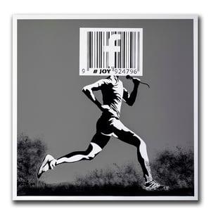 Image of JOY - Barcode runner print, gray