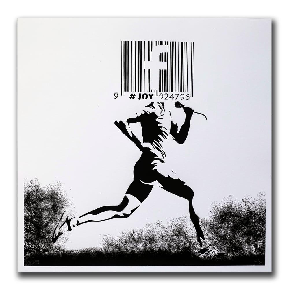 Image of JOY - Barcode runner print, white