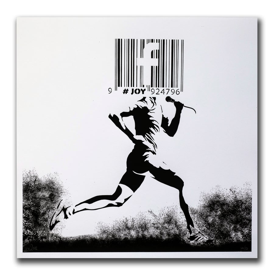 Image of JOY - Barcode runner print, white