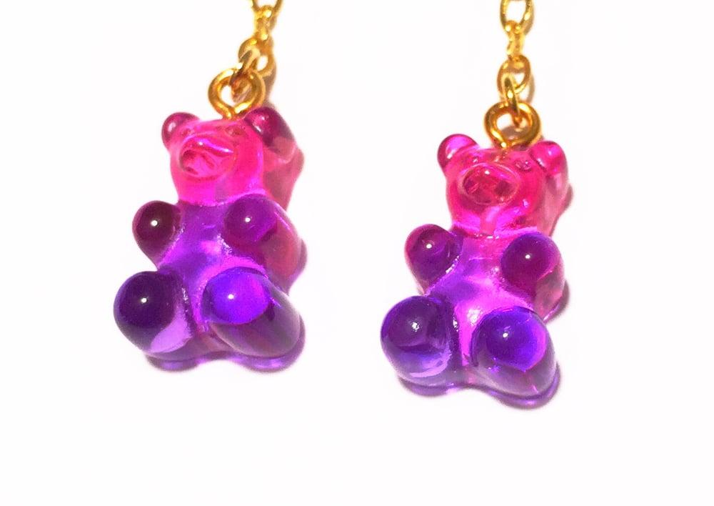 Image of Pink Raspberry Gummy Bear Earrings