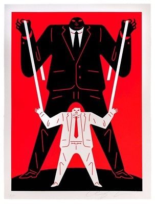 Image of Cleon Peterson Little Man Big Man Putin Red