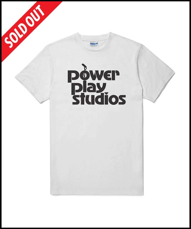 "Image of ""Power Play Studios"" logo T-shirt (WHITE)"