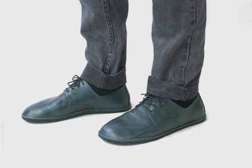 Image of Plain Toe Derby in Lustrous Navy