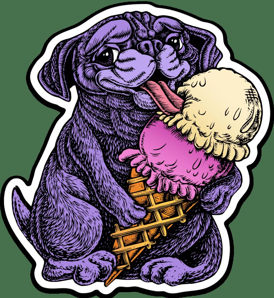 Image of Pug eating Ice Cream Sticker