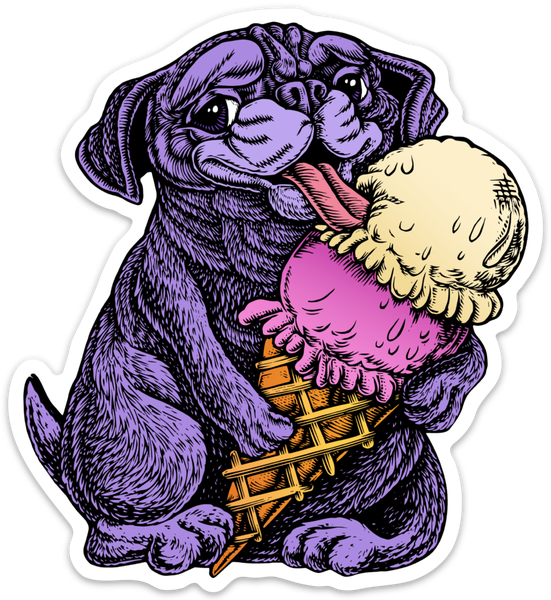 Image of Pug eating Ice Cream Sticker