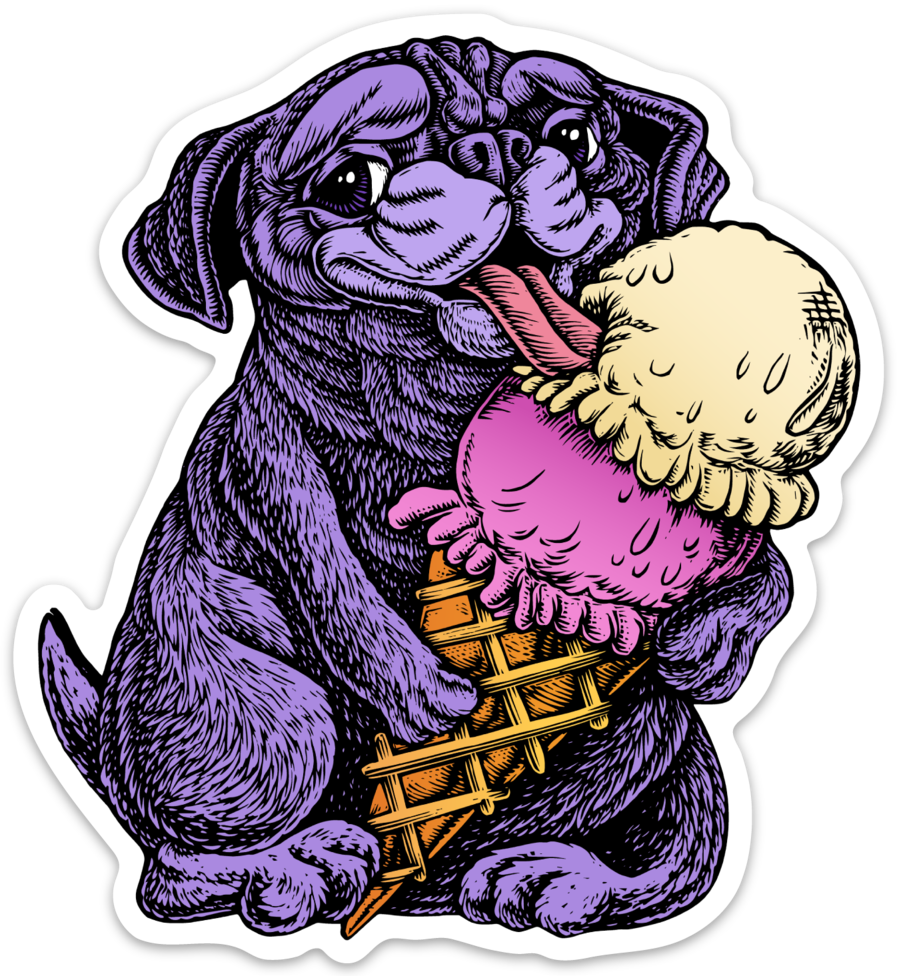 Pug eating Ice Cream Sticker