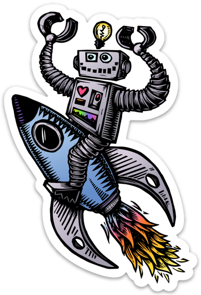 Image of Robot on a Rocket Ship Sticker