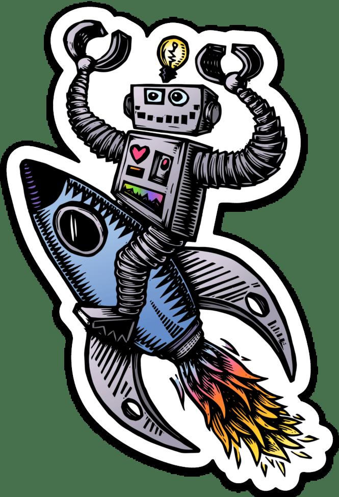 Robot on a Rocket Ship Sticker